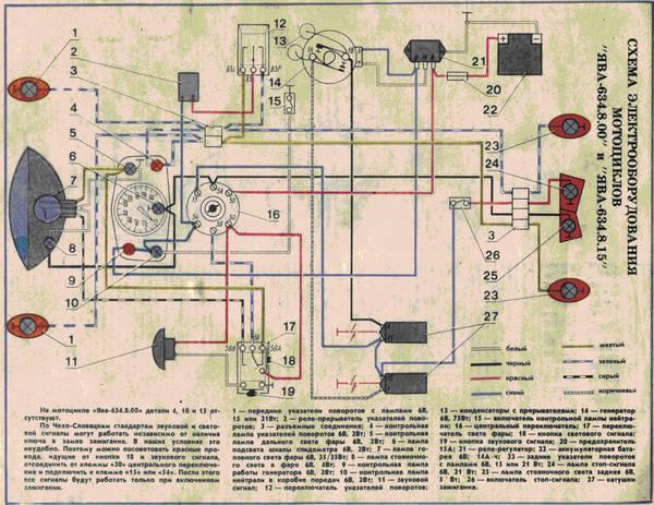 Схема проводки и электрооборудования мотоцикла Ява 350 634.