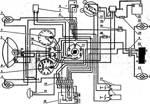 Схема электрооборудования мотоцикла Ява 350 типа 634