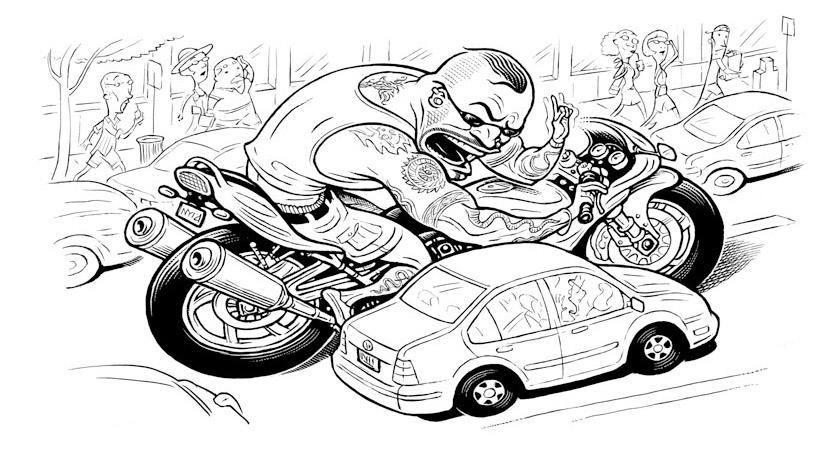 Машина и мотоцикл рисунок